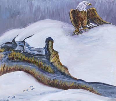 Painting - Bald Eagle On Snowdrift Wildlife Vignette by Dawn Senior-Trask