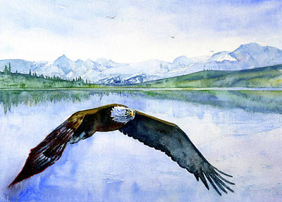 Painting - Bald Eagle Over Ocean by John D Benson