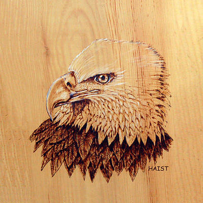 Pyrography - Bald Eagle Pillow/bag by Ron Haist