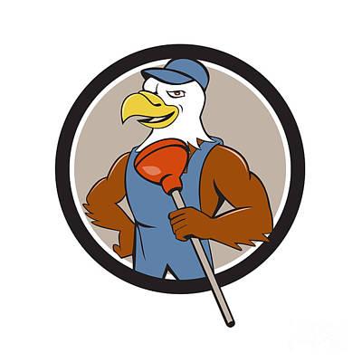 Plunger Digital Art - Bald Eagle Plumber Plunger Circle Cartoon by Aloysius Patrimonio