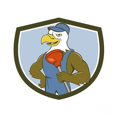 Plunger Digital Art - Bald Eagle Plumber Plunger Crest Cartoon by Aloysius Patrimonio