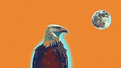 Yellow Beak Painting - Bald Eagle Poster by Celestial Images