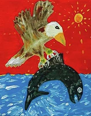 Our Daily Bread Painting - Bald Eagle Versus King Salmon by Jonathon Hansen