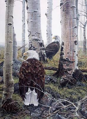Painting - Bald Eagles Nest Building by Brian Durfee