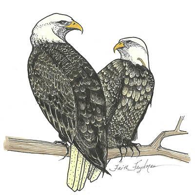 Bald Eagles, Pair Art Print by Faith Frykman