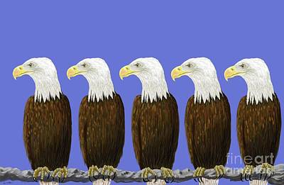 Rare Books Digital Art - Bald Eagles by Stacy C Bottoms