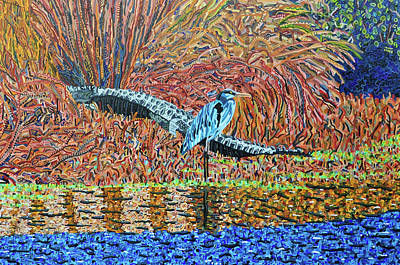 Painting - Bald Head Island, Gator, Blue Heron by Micah Mullen