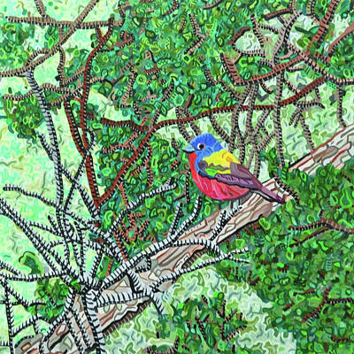 Painting - Bald Head Island, Painted Bunting At Defying Gravity by Micah Mullen
