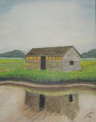 Painting - Bald Head Island Shed by John Schuller