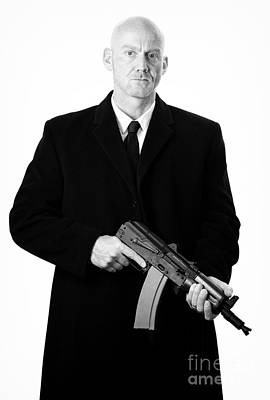 Bald Headed Man Wearing Heavy Black Overcoat Holding Ak-47 Art Print