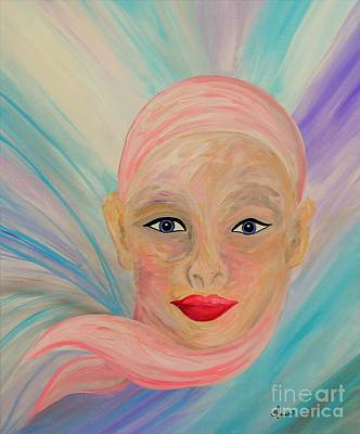 Eyes Painting - Bald Is Beauty With Blue Eyes by Eloise Schneider