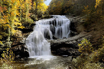 Bald River Falls In Autumn Art Print by Darrell Young