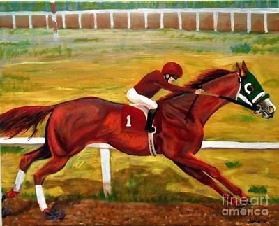Horse Racing Painting - Baldface Liar by Abelone Petersen