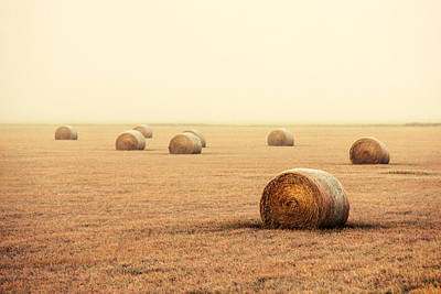 Bales In The Fog Art Print by Todd Klassy