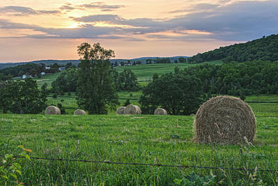 Photograph - Bales Of Hay At Sunset by Angelo Marcialis