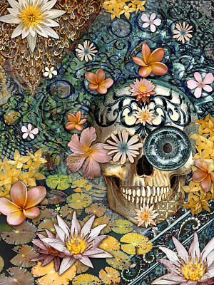 Botanicals Mixed Media - Bali Botaniskull - Floral Sugar Skull Art by Christopher Beikmann
