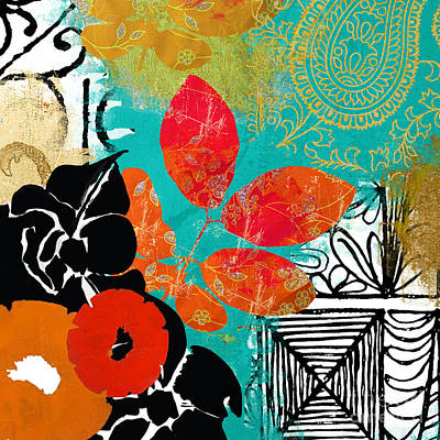 Abstract Collage Painting - Bali II Abstract Collage Painting by Mindy Sommers