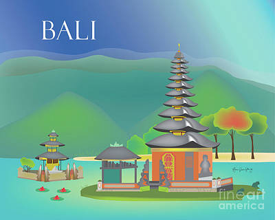 Small Bridges Digital Art - Bali Indonesia Horizontal Scene by Karen Young