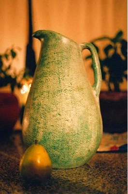 Bali Pitcher And Pear Art Print by Heather S Huston