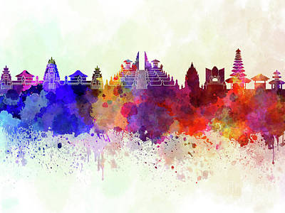 Indonesia Painting - Bali Skyline In Watercolor Background by Pablo Romero
