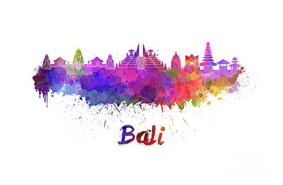 Indonesia Painting - Bali Skyline In Watercolor by Pablo Romero