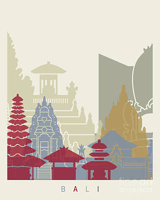 Indonesia Painting - Bali Skyline Poster by Pablo Romero
