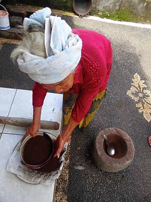Photograph - Balinese Lady Sifting Coffee by Exploramum Exploramum