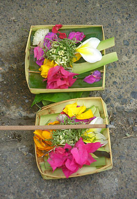 Balinese Offering Baskets Art Print by Mark Sellers