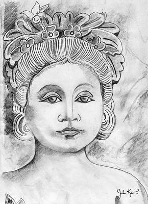 Drawing - Balinese Princess by John Keaton