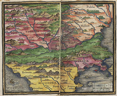 Photograph - Balkan Peninsula Map By Johannes Honter 1542 by Rick Bures
