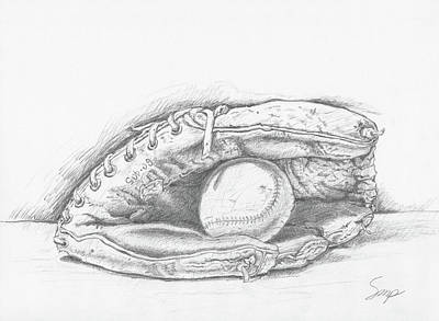 Drawing - Ball And Glove by Steven Powers SMP