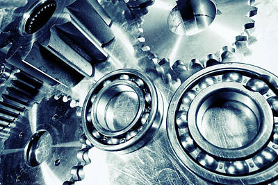 Art Print featuring the photograph Ball-bearings And Cogs In Titanium by Christian Lagereek