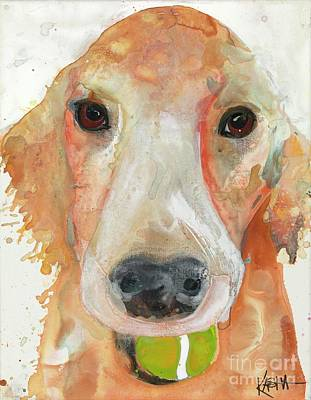 Dog With Tennis Ball Painting - Ball Brain by Kasha Ritter