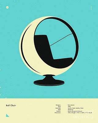 Infographic Digital Art - Ball Chair 1963 by Jazzberry Blue