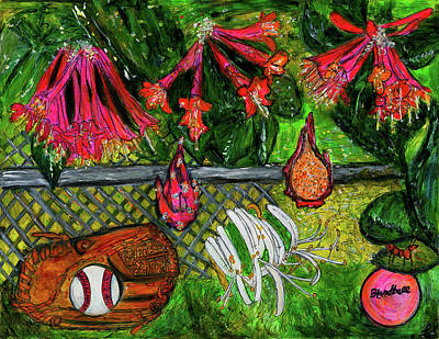 Abstract Baseball Painting - Ball Garden  by Lindsay Strubbe
