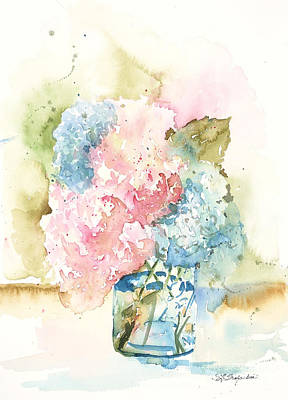 Print featuring the painting Ball Jar Hydrangeas by Sandra Strohschein