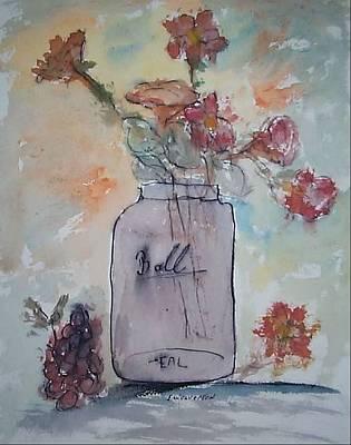 Ball Jar Vase Art Print by Edward Wolverton