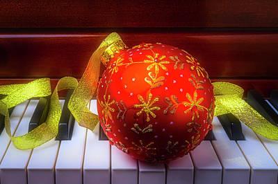 Photograph - Ball Ornament Piano Keys by Garry Gay