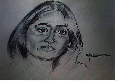 Ball Point Pen Painting - Ball Pen Work Anushka Shetty by Muthukrishnan Jerom