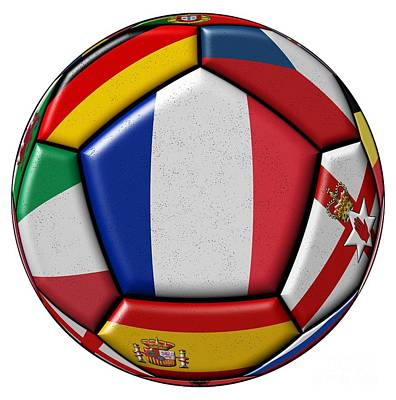 Ball With Flag Of France In The Center Art Print by Michal Boubin