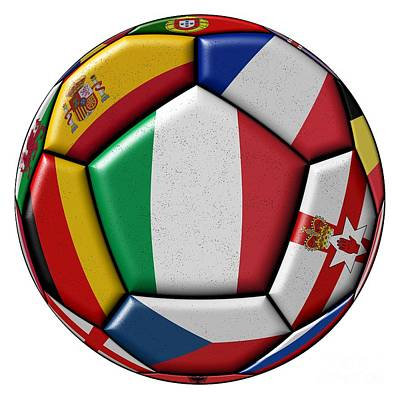 Ball With Flag Of Italy In The Center Art Print by Michal Boubin