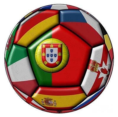 Ball With Flag Of Portugal In The Center Art Print by Michal Boubin