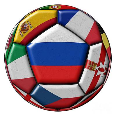 Ball With Flag Of Russia In The Center Art Print by Michal Boubin