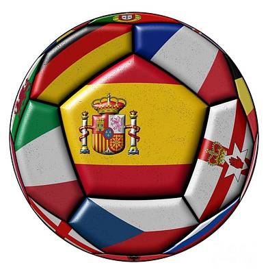 Ball With Flag Of Spain In The Center Art Print by Michal Boubin
