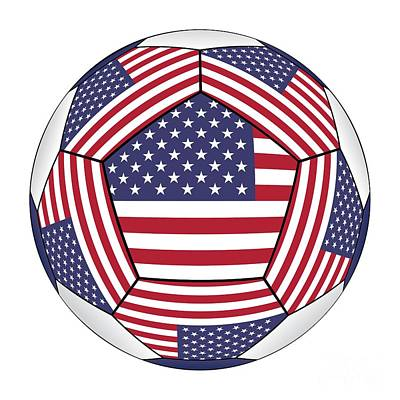 Digital Art - Ball With United States Flag by Michal Boubin