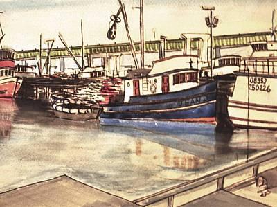 Ballard Painting - Ballard Fishing Boats by Greg Knight