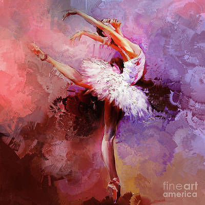 Swan Lake Painting - Ballerina 08821 by Gull G