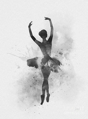 Mixed Media - Ballerina 2 Black And White by Rebecca Jenkins