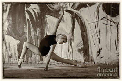 Photograph - Ballerina And Grungy Background by Michael Edwards