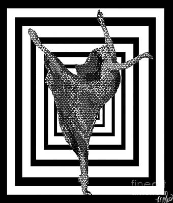 Painting - Ballerina Black And White Abstract Mosaic by Saundra Myles